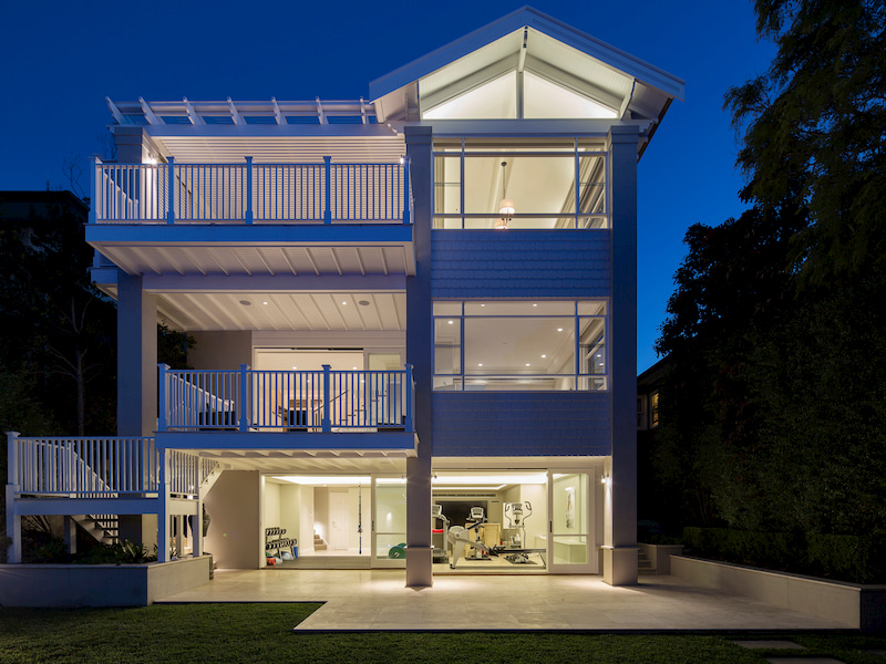 Beautiful home with lights on