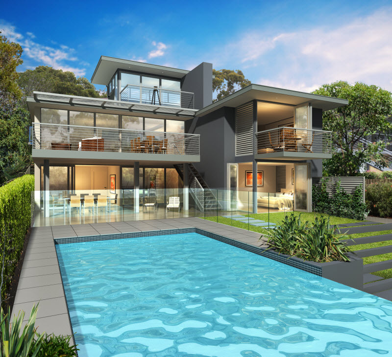 3D Design of a big home with a pool
