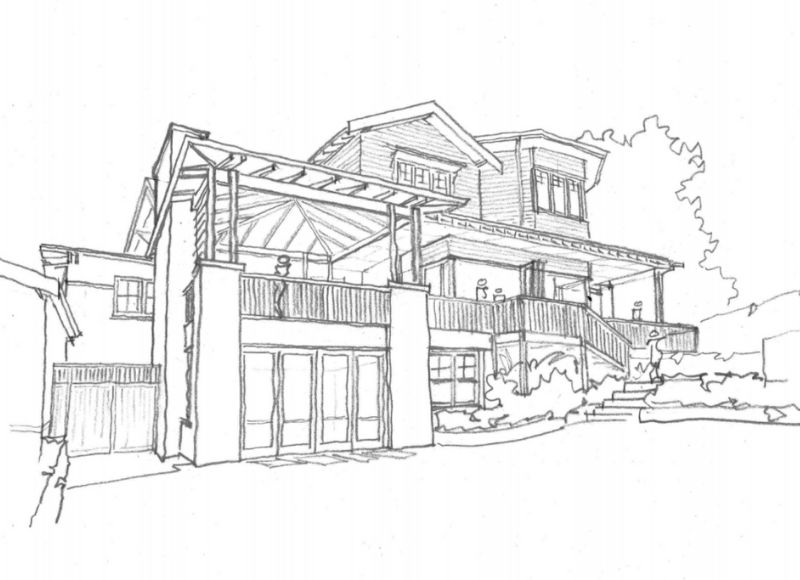 Sketch of a beautiful house