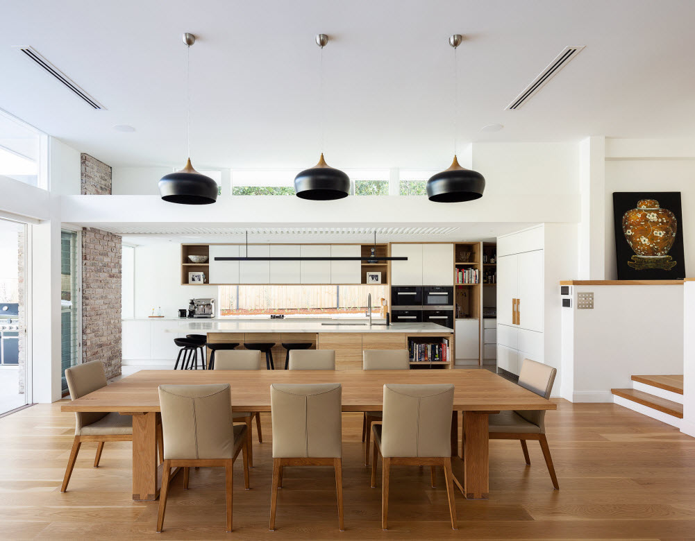 View of dining room and kitchen area
