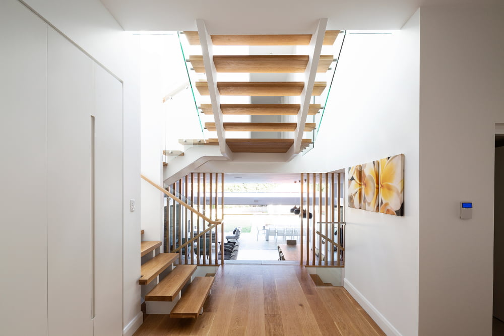 Wooden stairs and floor