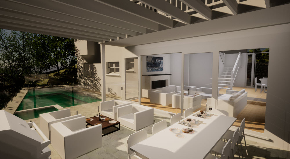 Schematic design of the outdoor and living room of a home