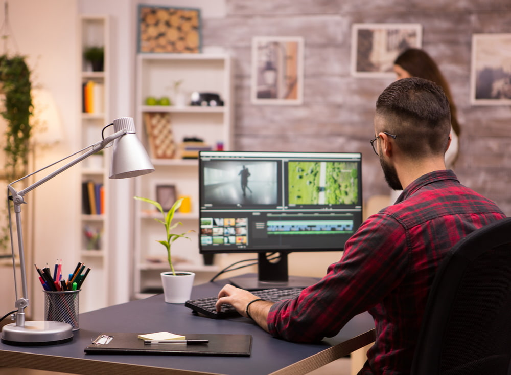 Man working from home with his computer